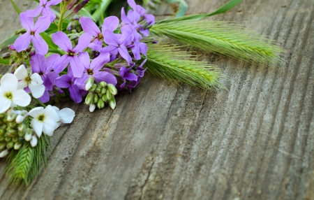 Wildflowers on gray wooden background photo