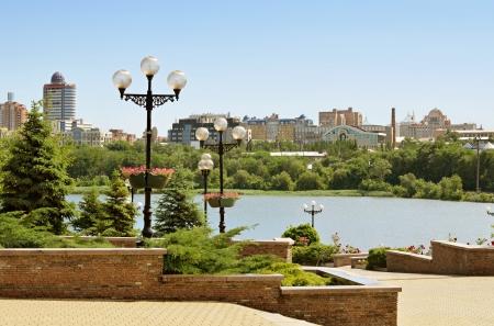 View from Shcherbakov park in Donetsk Фото со стока