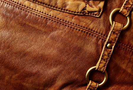 leather stitch: Brown artificial leather with decorations for background