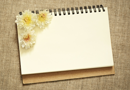 Notebook with asters on gray canvas background