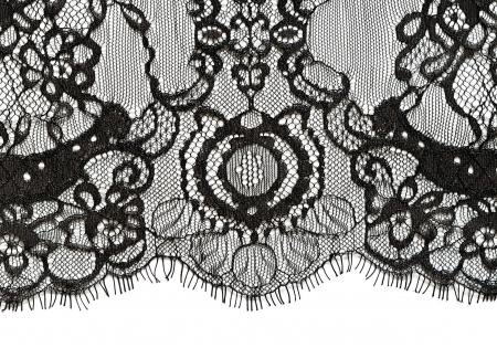 Black lace edge on white background Фото со стока