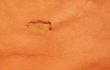 Tan leather with hole for background photo