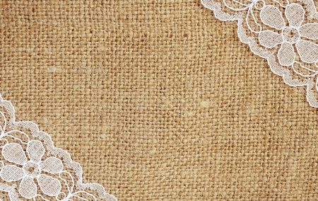 burlap texture: Canvas with white lace in corners