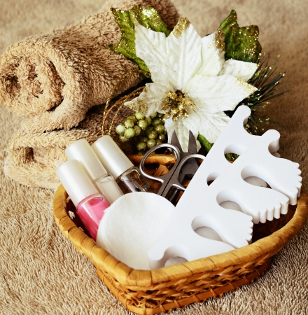Tools for manicure and pedicure on towels photo