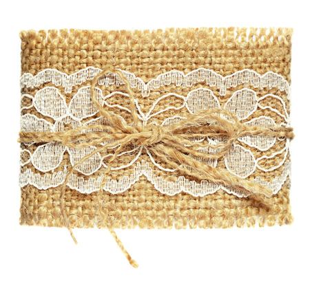 Canvas cuff with white lace photo