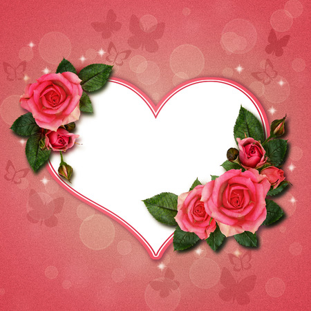 rotund: Rose flowers and heart on pink background