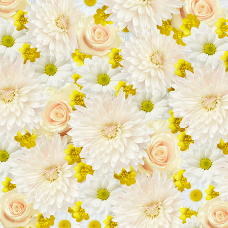 Flowers background in white and yellow colors photo