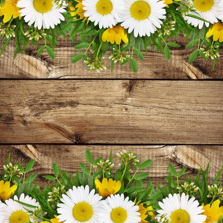 Summer wild flowers edge on wooden background photo