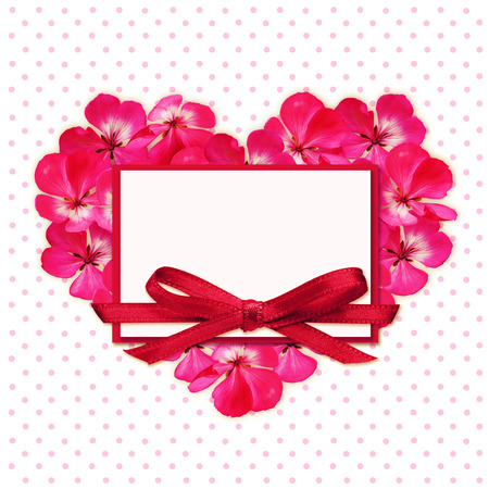 spotted flower: Flower heart and a card on white spotted background