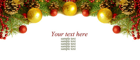 border line: Christmass top decoration on white background