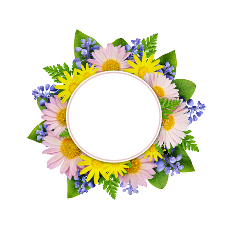 rotund: Flowers round frame isolated on white