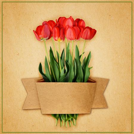 tulipan: Tulipan bukiet kwiatów i rzemiosła wstążka na tle papieru Zdjęcie Seryjne