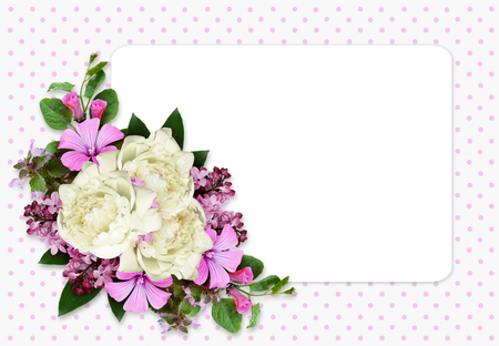 Peony and wild flowers composition in a corner of card on gray spotted background