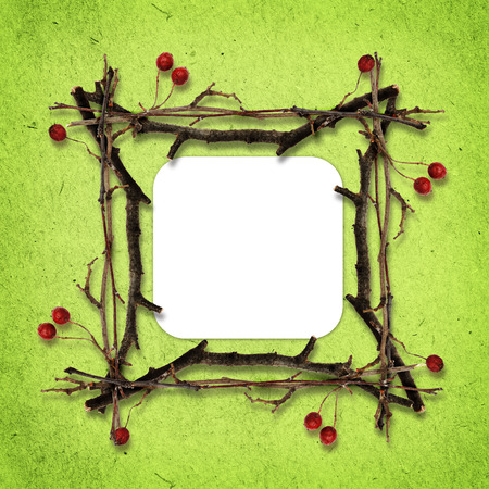 shrunken: Frame made from dry twigs on green paper background