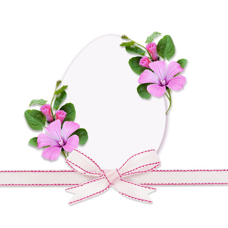 bindweed: Easter egg, bow and bindweed flowers on white background Stock Photo