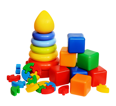 Children's toys isolated on a white background Stockfoto
