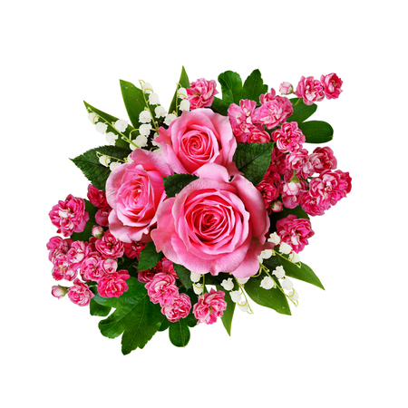 Bouquet of pink roses, lilies of the valley and hawthorn flowers isolated on white
