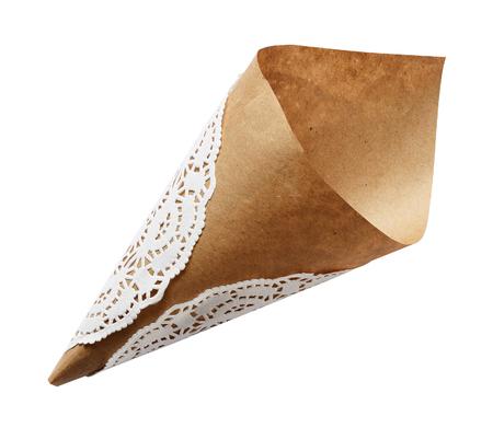 cornet: Empty craft paper cornet isoaletd on white