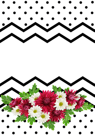 crankle: Aster flowers bouquet on black and white zigzag and spotted background