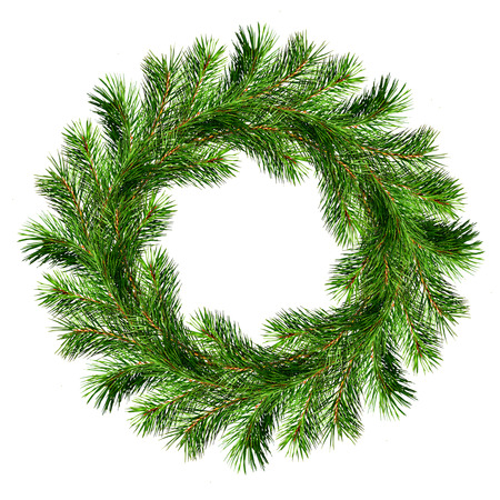 Christmas wreath from pine twigs isolated on white