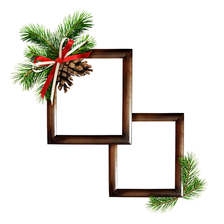 Christmas Frames With Pine Tree And Cones For Photo Or Text Isolated
