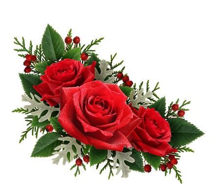 Red rose flowers corner arrangement isolated on white