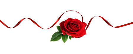 Red silk ribbon and rose flower isolated on white