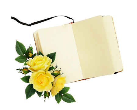 composition notebook: Yellow rose flowers composition and open notebook isolated on white