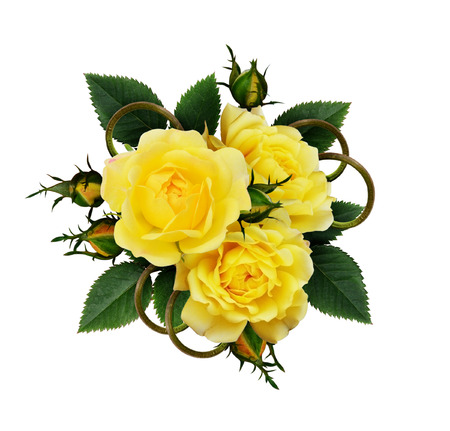 Yellow rose flowers arrangement isolated on white stock photo stock photo yellow rose flowers arrangement isolated on white mightylinksfo