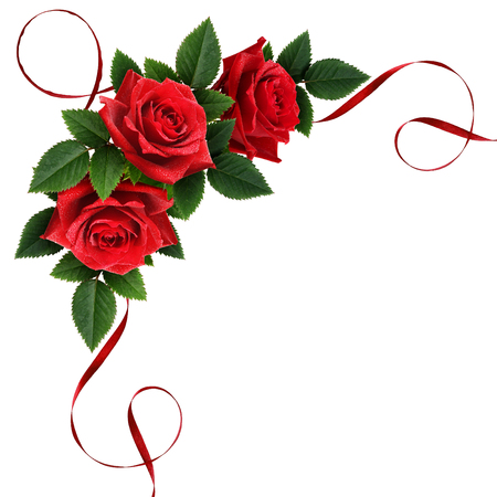 Red rose flowers and silk ribbon corner arrangement isolated on white Фото со стока