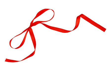 Red silk ribbon bow isolated on white Stock Photo