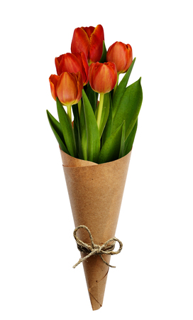 cornet: Bouquet of red tulip flowers in a craft paper cornet for Womans day isolated on white