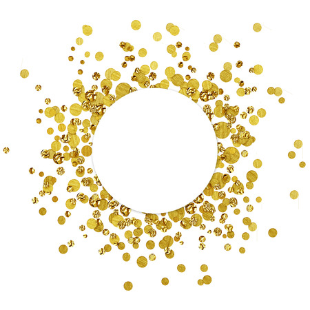 dispersion: White round card on scattered gold confetti isolated on white  Stock Photo