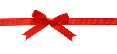 Red rep ribbon bow isolated on white