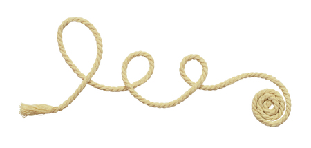 Beige cotton twisted rope isolated on white