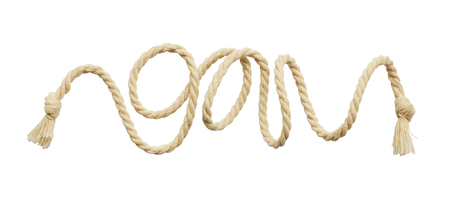 Twisted beige cotton rope isolated on white