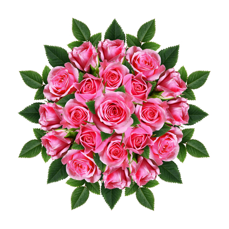 Ordered round bouquet of beautiful pink rose flowers isolated on white
