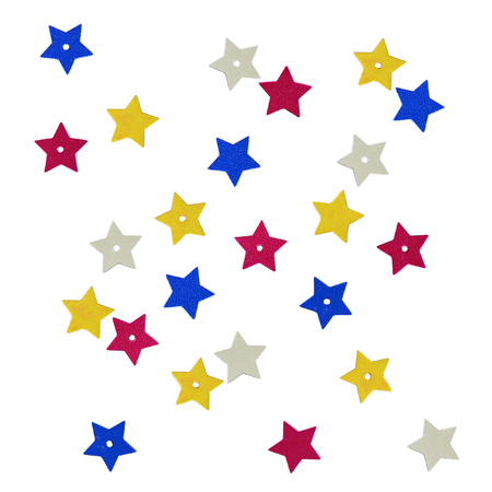 Scattered colorful star shape sequins isolated on white background for holiday Stock Photo