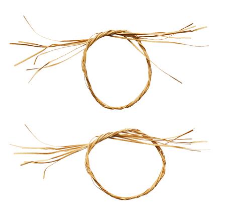 Set of raffia knots isolated on white
