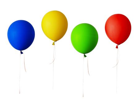 화이트 절연 빨간색, 파란색, 녹색 및 노란색 풍선의 집합
