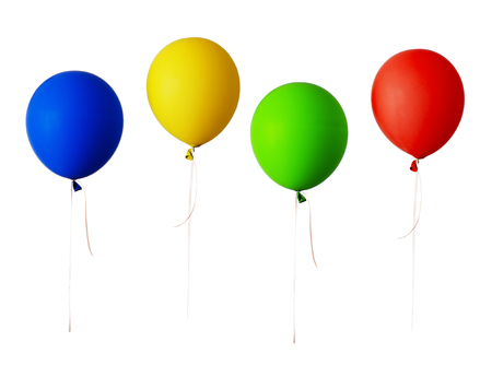 Set of red, blue, green and yellow balloons isolated on white Banco de Imagens