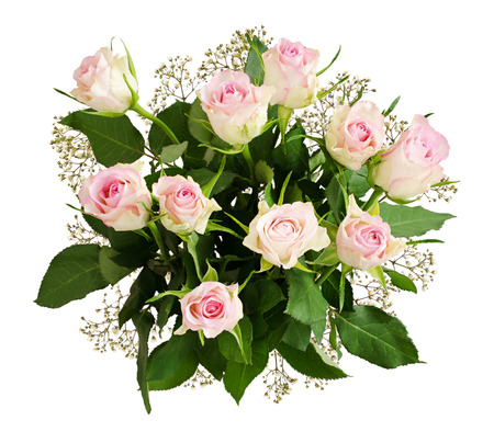 Beautiful white roses and gypsophila flowers bouquet isolated on white. Top view.
