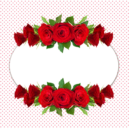 Red rose flowers arrangement on polka dot background Stock Photo