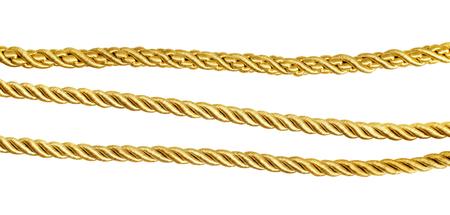 흰색 황금 실크 밧줄 iolated의 집합