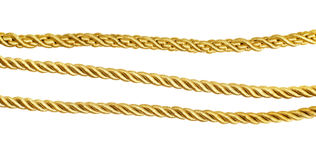 Set of golden silk ropes iolated on white