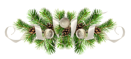 Christmas arrangement with pine twigs, silver balls and ribbons isolated on white background
