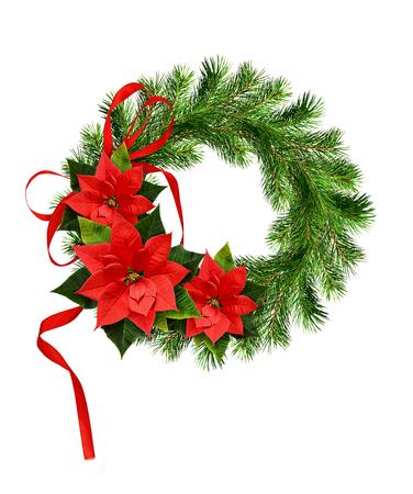 guirnalda de navidad de ramitas de pino y flores ponsettia con lazo de cinta aislado en - Guirnalda De Navidad