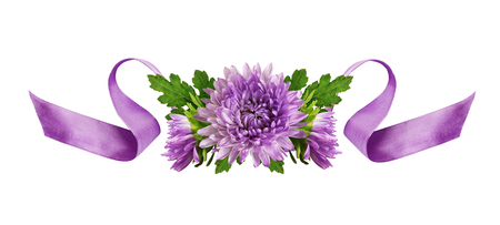 Curled lilac silk ribbon and aster flowers arrangement isolated on white Stock Photo