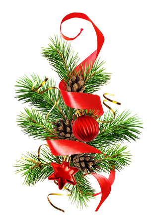 Christmas tree with balls, cones, red and golden ribbons isolated on white background
