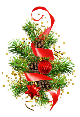 Christmas tree with red decorations, cones, ribbons and golden confetti isolated on white background